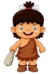 illustration of Cartoon cave boy