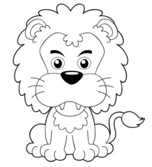 illustration of Cartoon lion outline