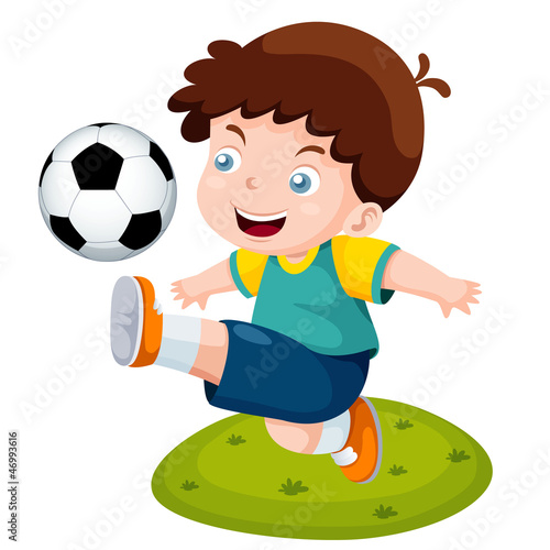 illustration of Cartoon boy playing soccer