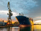 Cargo vessel in port
