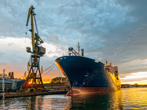 Cargo vessel in port