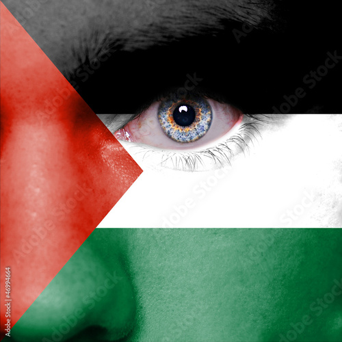 Palestine flag painted on face