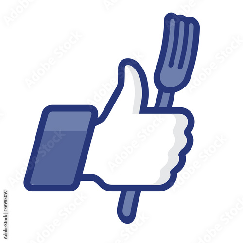 Thumbs Up symbol icon with fork