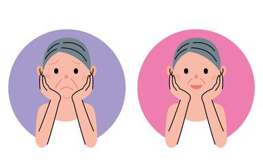 シニア 女性 表情