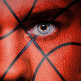 Fotoroleta Basketball pattern on angry man face
