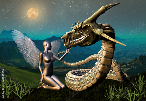 Deurstickers Draken Dragon & Angel - Fantasy Scene