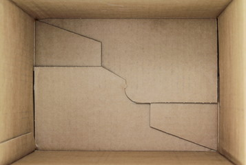 Empty cardboard box, 3d view inner side.
