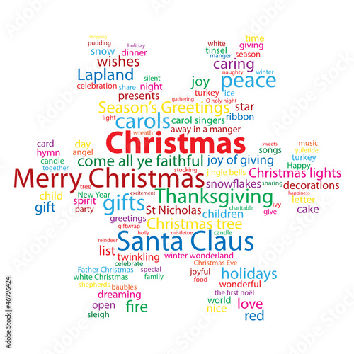 """""""CHRISTMAS"""" Tag Cloud (snowflakes happy merry celebration card)"""