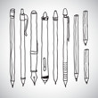 Illustration of pencil, pen and fountain pen icons