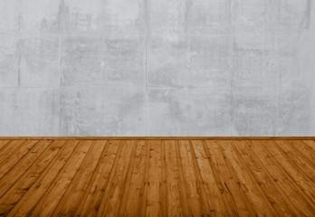 Leerer Raum - Brauner Holzboden und graue Steinwand