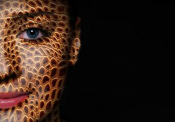 Woman face with lizard skin pattern