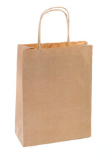 One simple brown paper shopping bag