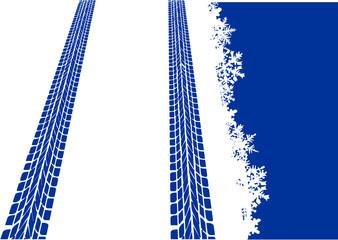 Reifenspuren im Schnee