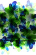 Green and blue  transparent flowers