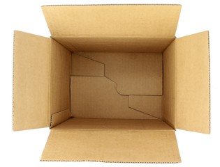 Empty cardboard box, top view on white background