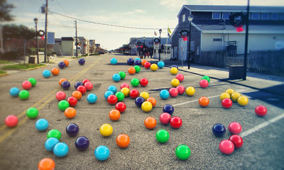 gumballs on the road