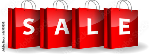 Red shopping bags with the word Sale