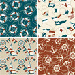4 nautical seamless patterns