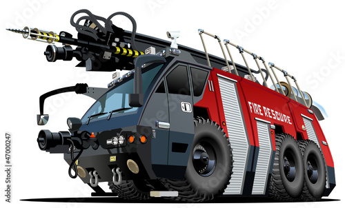Foto op Canvas Cartoon cars Vector cartoon firetruck