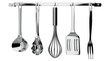 kitchen utensils hanging on white background