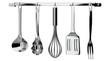 Leinwandbild Motiv kitchen utensils hanging on white background