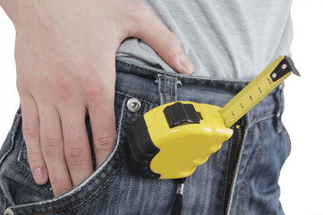tape measure fixed on jeans isolated