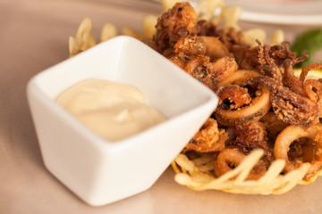 Calamari and sauce
