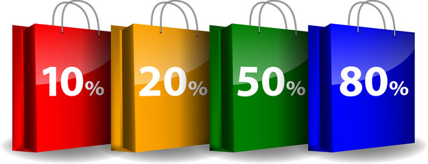 Colorful shopping bags with the sale percents