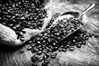 Kaffeebohnen im Sack mit Schaufel - SW