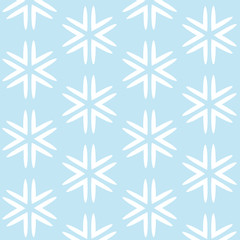 Christmas blue seamless background with white snowflakes