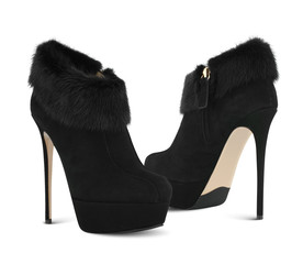 Fashion high heel shoes with fur
