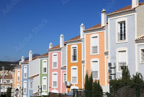 Colorful apartment buildings in Spain
