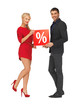 man and woman with percent sign
