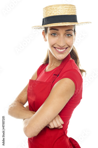 Charming confident baker woman posing casually