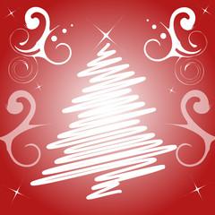 decorazione natale rosso albero bianco