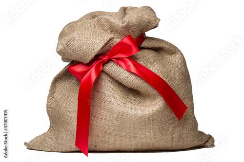 Weihnachtssack mit roter Schleife - 47007415