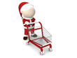 Santa Claus and shopping cart on white background