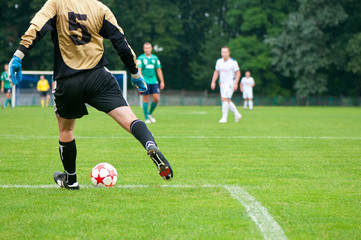 soccer player kicks the ball. Horizontal image of soccer ball wi