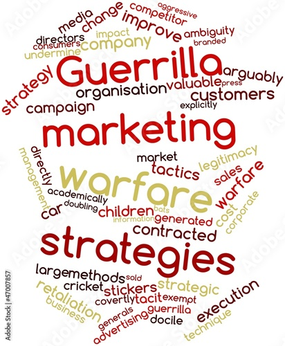 Word cloud for Guerrilla marketing warfare strategies