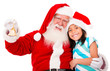 Happy Santa with a girl