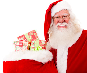 Santa with gifts in a sack