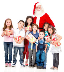 Santa Claus with a group of kids