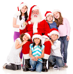 Santa with a group of kids