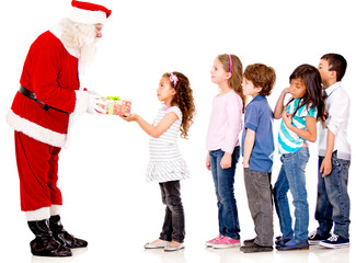 Santa giving Christmas presents