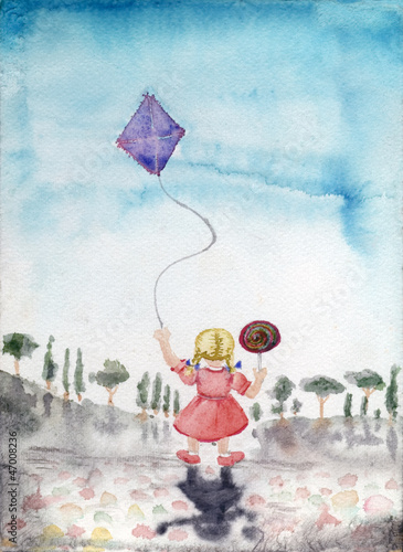 little girl kite