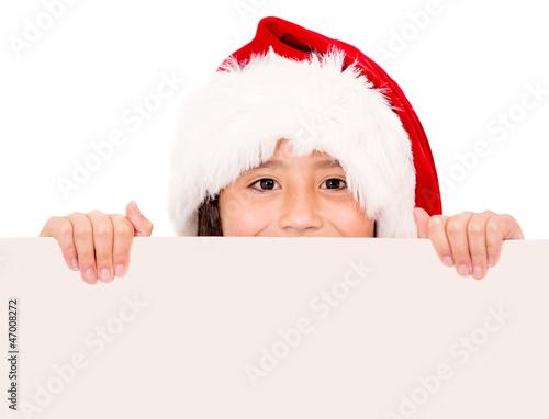 Christmas girl holding a banner
