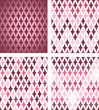 Set of 4 seamless abstract diamond patterns, Vector