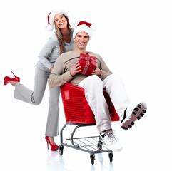 Santa Christmas couple with a gift.