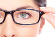 Beautiful young woman wearing glasses portrait.