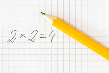 math formula and pencil on squared paper